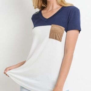 Tops - Navy Relaxed Fit Tee Suede Pocket